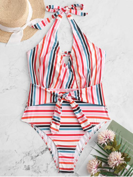 latest ZAFUL Colorful Striped Halter Lace Up Belted Swimsuit - MULTI-A S