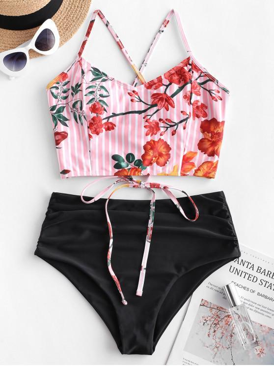 buy ZAFUL Striped Flower Lace Up Tummy Control Tankini Swimsuit - MULTI-A L
