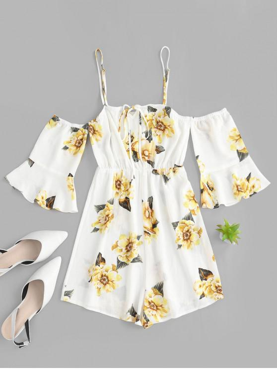 trendy ZAFUL Flower Print Flare Sleeve Cold Shoulder Romper - WHITE XL