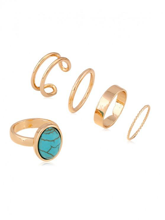 shops 5Pcs Brief Alloy Turquoise Ring Set - GOLD BLUE PINE
