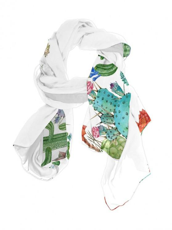 fancy Plant Cactus Printed Long Scarf - SEA GREEN 70*150CM