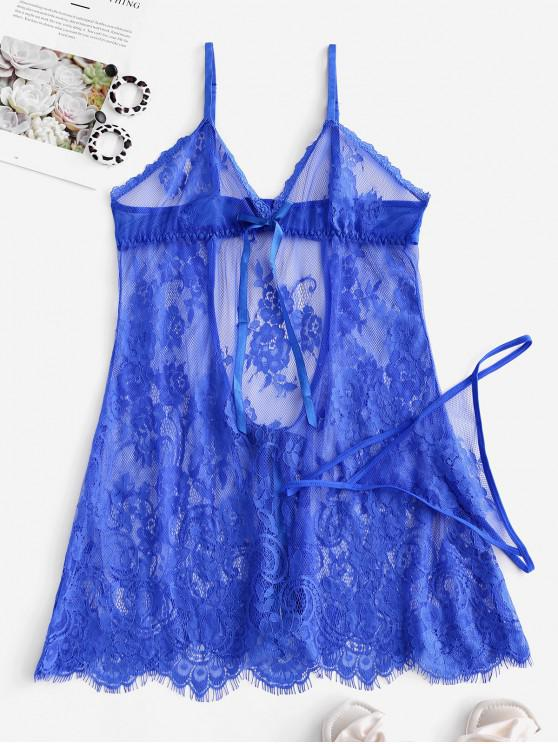 Babydoll in pizzo con cut-out bowknot - Blu Mirtillo S