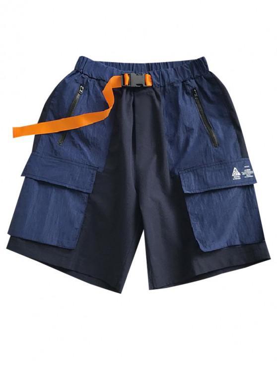 مشبك حزام سستة جيب اللون كتلة السراويل عارضة - اللازورد الأزرق M