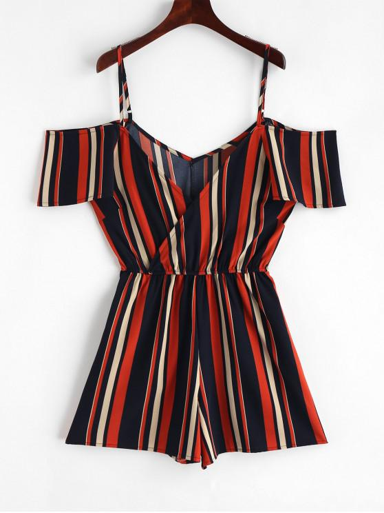new Stripes Cold Shoulder Surplice Romper - MULTI-A M