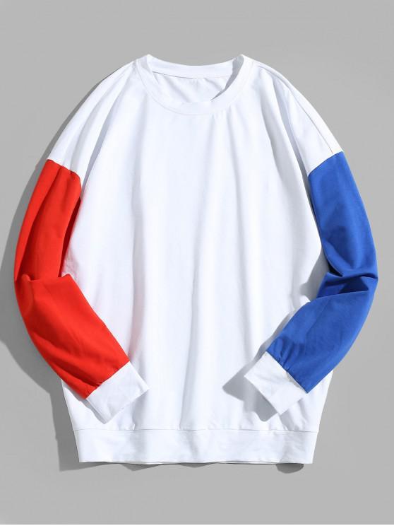 Felpa a tunica in contrasto a spalla color block ZAFUL Color Block - Bianca 2XL