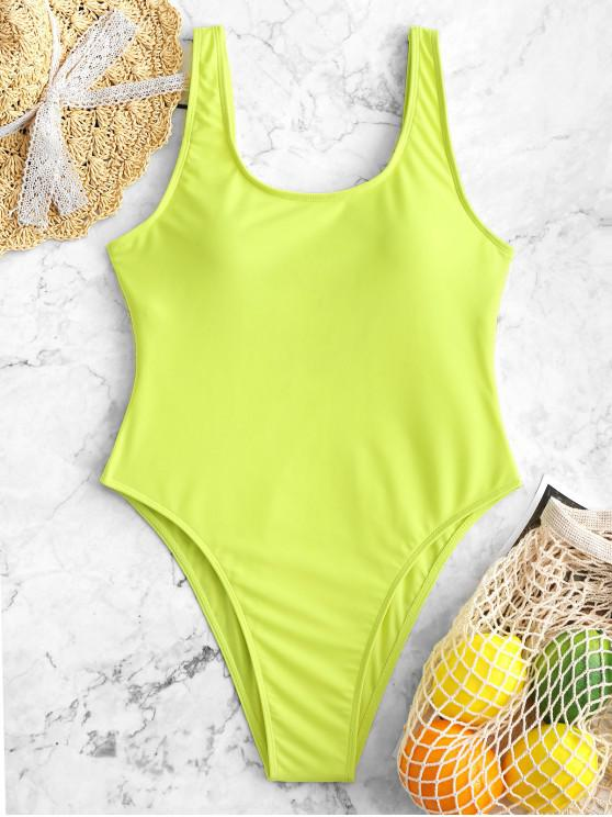 affordable High Cut Backless Swimsuit - TEA GREEN XS