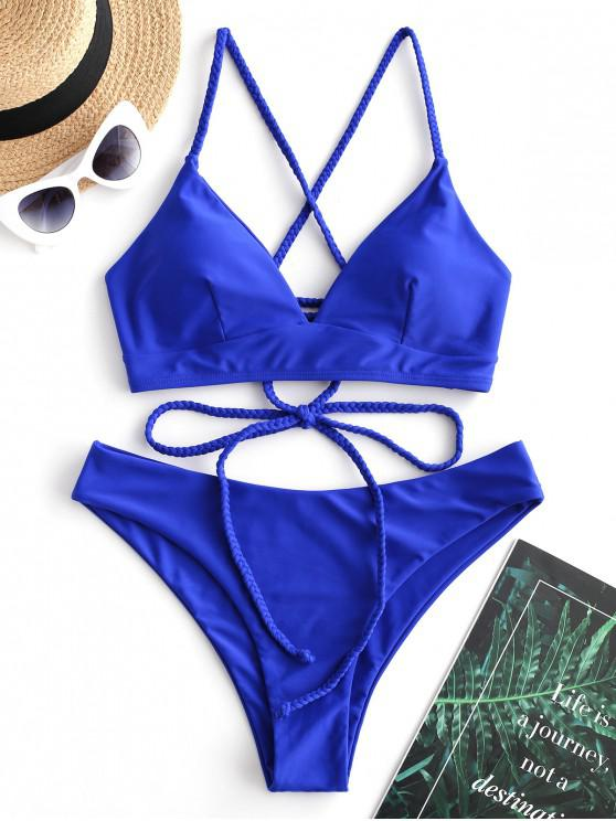 shop ZAFUL Braided Lace Up Plain Bikini Swimsuit - COBALT BLUE M