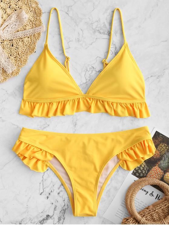 chic Ruffle Padded Plunge Bikini Set - YELLOW S