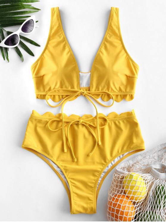 fashion ZAFUL Scalloped Plunging High Waisted Bikini Swimsuit - BRIGHT YELLOW M