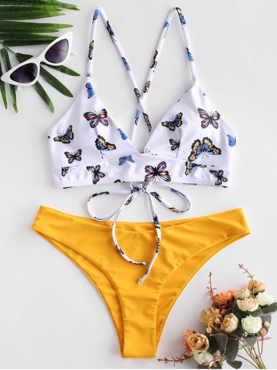 chic ZAFUL Butterfly Print Lace Up Mix and Match Bikini Swimsuit - MULTI-A L