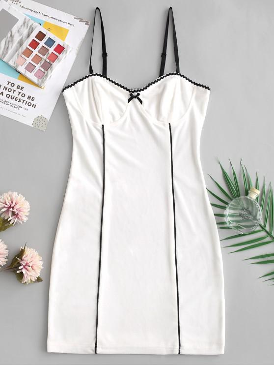 hot Bowknot Bodycon Piping Cami Dress - WHITE M