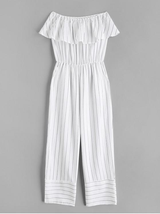 latest Off Shoulder Striped Flounce Jumpsuit - WHITE L