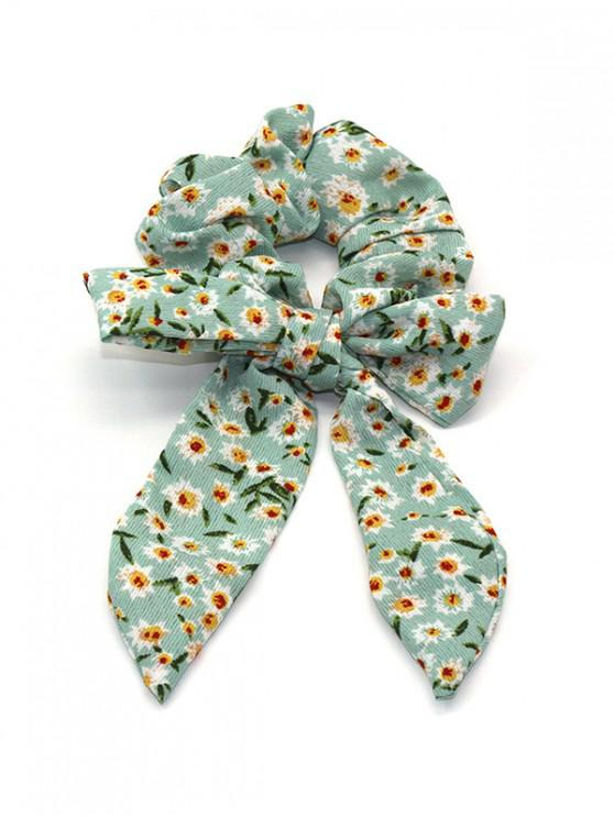 trendy Flower Print Bowknot Elastic Hair Band - GREEN