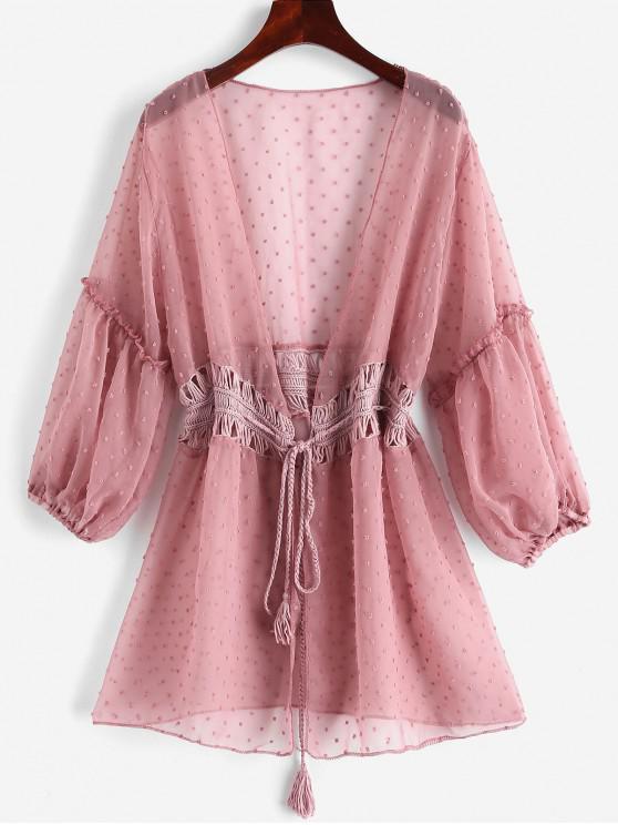 Tie Crochet Panel Swiss Dot Cover-up - Rose Taglia unica