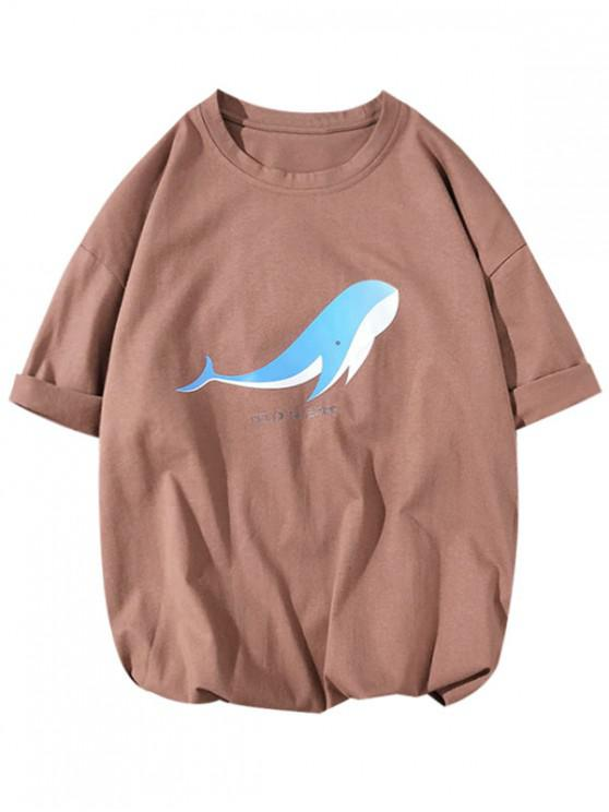 ladies Dolor Sit a Met Letter Dolphin Print Casual T-shirt - COFFEE L