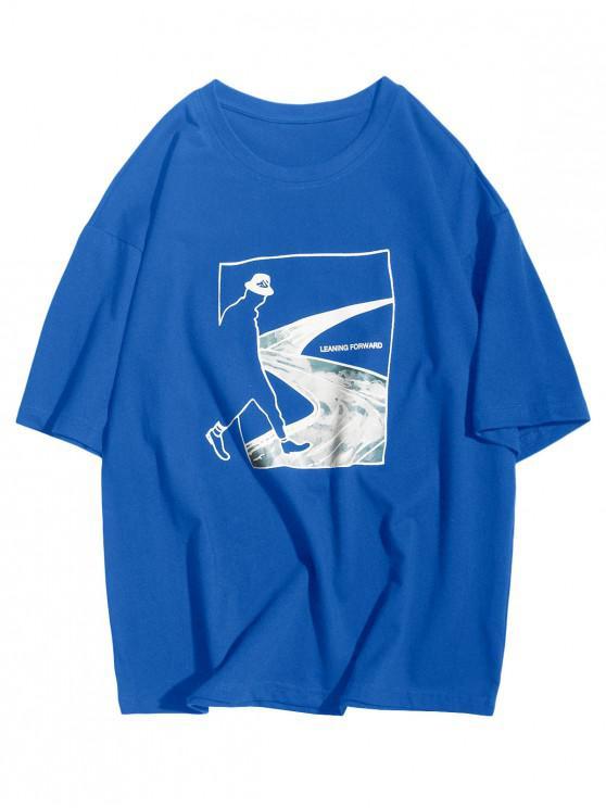 Camiseta Casual de Mangas Cortas con Estampado de Bosque de Figura Abstracto - Azul Océano  M