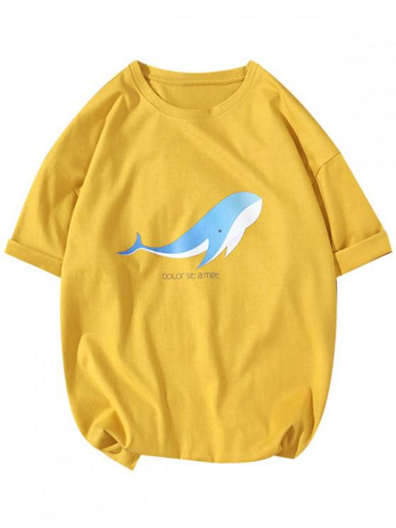 affordable Dolor Sit a Met Letter Dolphin Print Casual T-shirt - BRIGHT YELLOW L