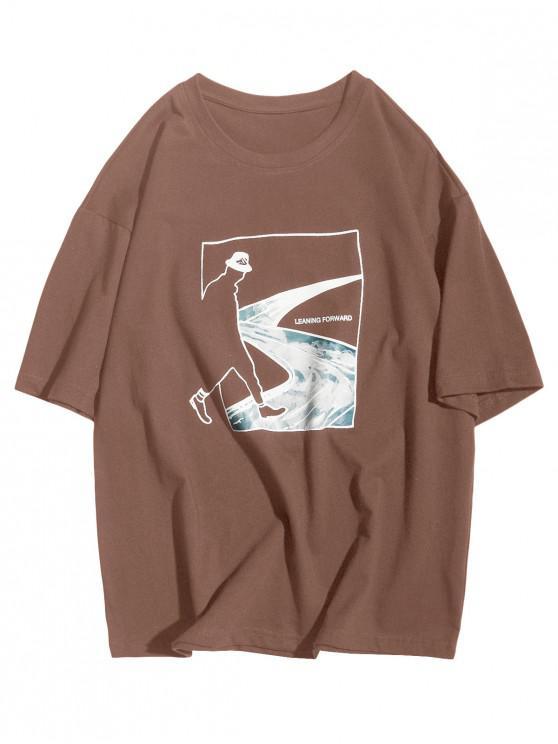 Camiseta Casual de Mangas Cortas con Estampado de Bosque de Figura Abstracto - Café M