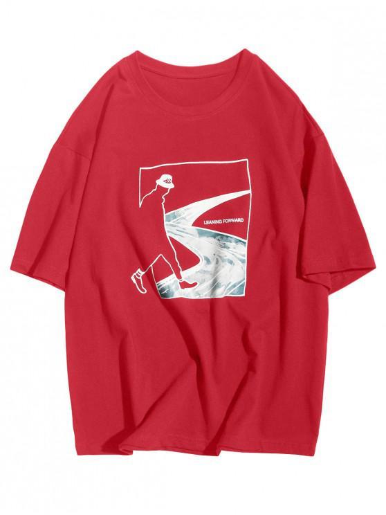 Camiseta Casual de Mangas Cortas con Estampado de Bosque de Figura Abstracto - Rojo Lava S