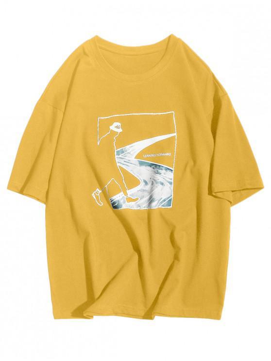 Inclinada hacia adelante Abstract Figure Road Graphic Casual T-shirt - Amarillo Brillante L