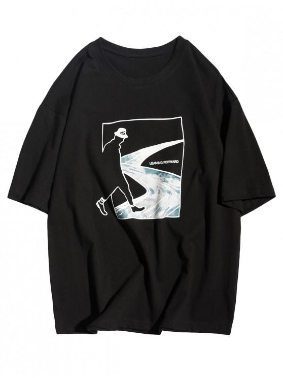 affordable Leaning Forward Abstract Figure Road Graphic Casual T-shirt - BLACK L