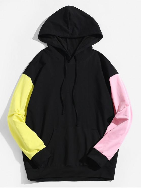 trendy ZAFUL Color Block Pullover Drawstring Pocket Hoodie - BLACK M