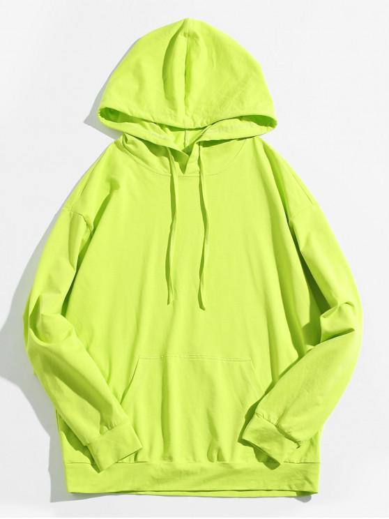 fashion ZAFUL Neon Kangaroo Pocket Hoodie - PISTACHIO GREEN L