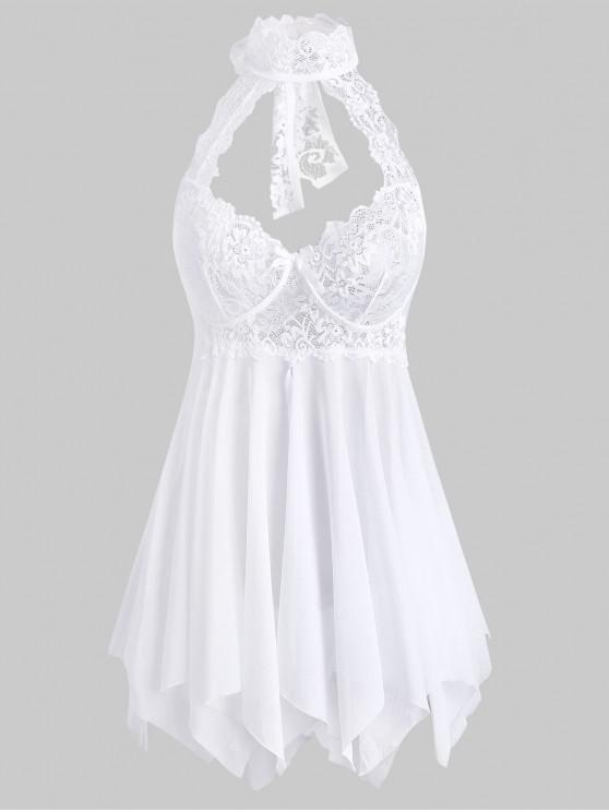 women Lace Insert Halter Bowknot Handkerchief Babydoll - WHITE S