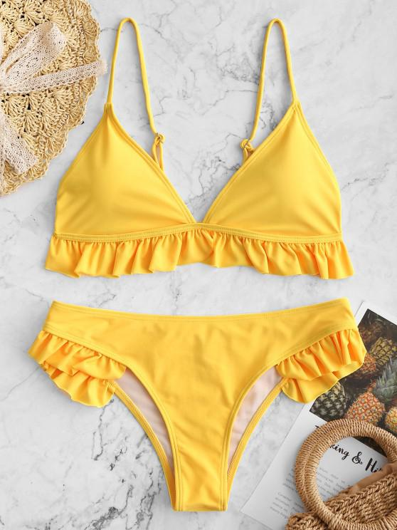 fancy Ruffle Padded Plunge Bikini Set - YELLOW M