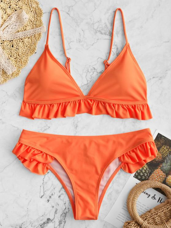 ladies Ruffle Padded Plunge Bikini Set - ORANGE S