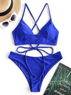ZAFUL Braided Lace Up Plain Bikini Swimsuit - Cobalt Blue M