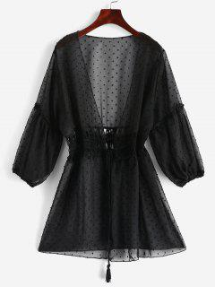 Tie Crochet Panel Swiss Dot Cover-up - Black