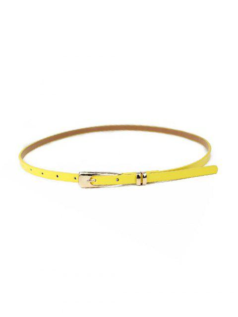 womens Solid Dress Narrow Buckle Belt - YELLOW  Mobile