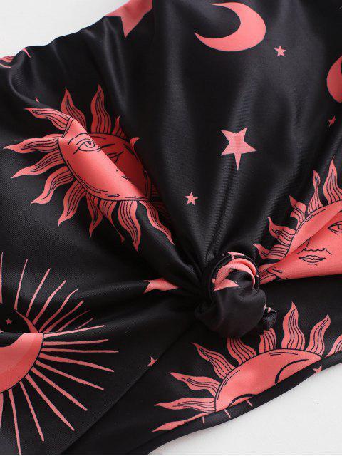 ZAFUL Rayas nudo fruncido Sun Star Moon Tankini traje de baño - Mandarina L Mobile