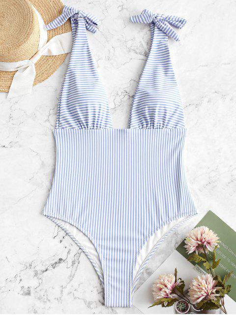 ZAFUL Striped Plunging Tie Shoulder Swimsuit - Azul de Jeans  XL Mobile