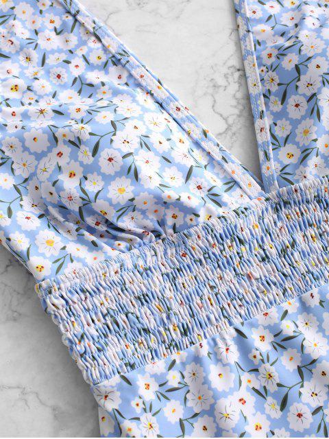 ZAFUL Floral Smocked hundiendo traje de baño de una pieza - Multicolor-A S Mobile