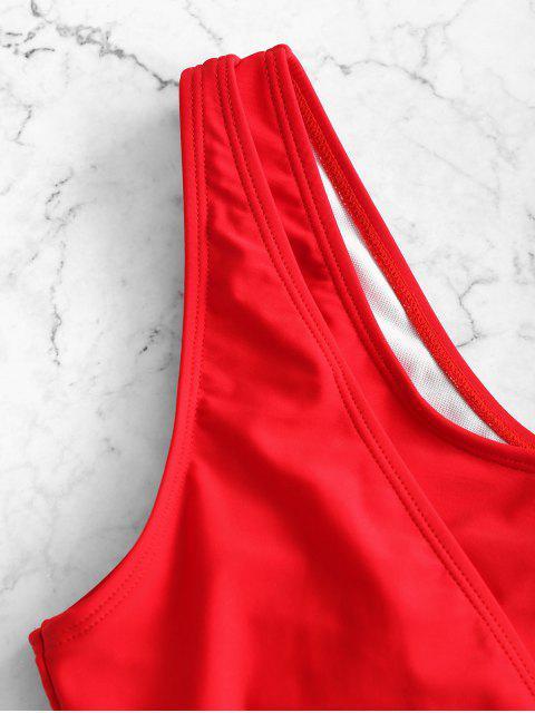 ZAFUL Одно плечо С вырезом Слитный Купальник - Красный XL Mobile