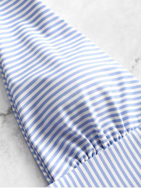 ZAFUL Striped Plunging Tie Shoulder Swimsuit - Azul de Jeans  M Mobile