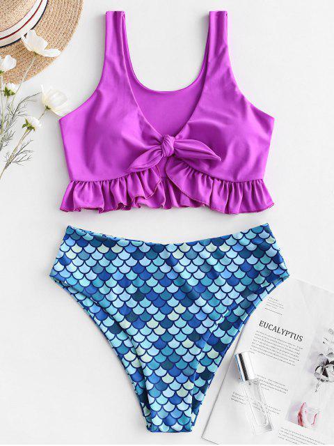 ZAFUL Mermaid Tied Plunging Tankini Tankini traje de baño - Flor Púrpura S Mobile