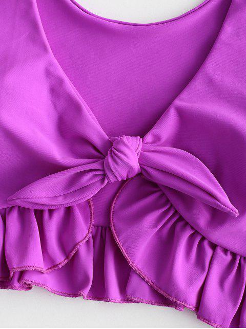 ZAFUL Maillot de Bain Tankini Sirène Plongeant Noué à Volants - Fleur Violet L Mobile