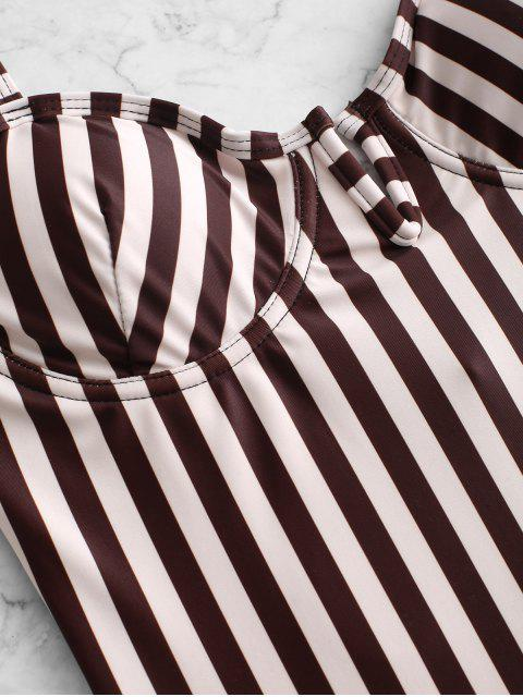 ZAFUL Полосатый принт V-вырез Перекрестные шнурки Купальник - Многоцветный-A XL Mobile