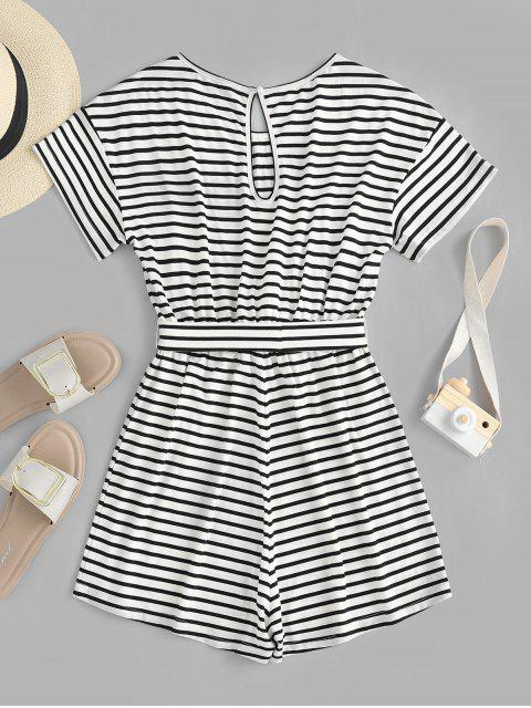 trendy ZAFUL Keyhole Belted Stripes Romper - WHITE S Mobile