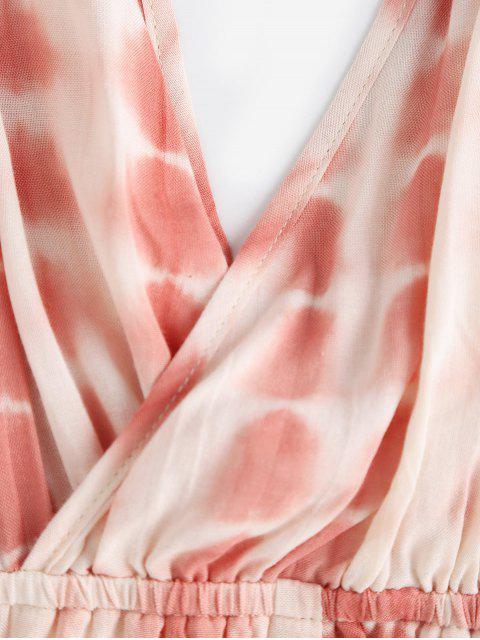 trendy ZAFUL Tie Dye Surplice Backless Cami Romper - CHESTNUT RED L Mobile