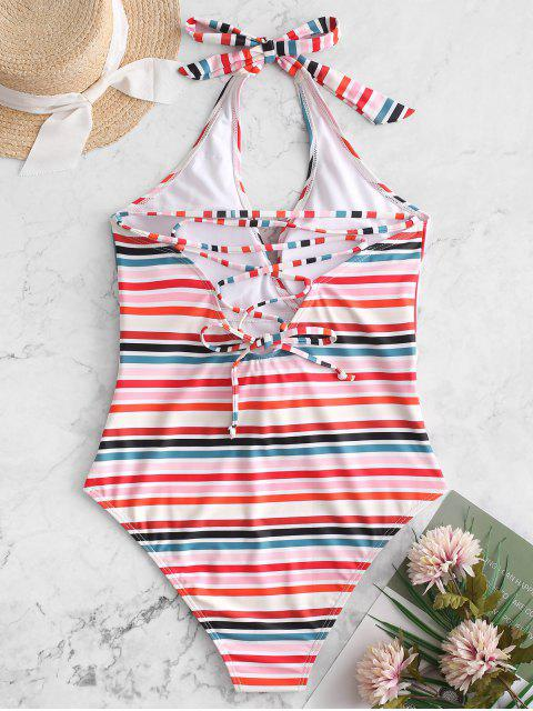 latest ZAFUL Colorful Striped Halter Lace Up Belted Swimsuit - MULTI-A S Mobile