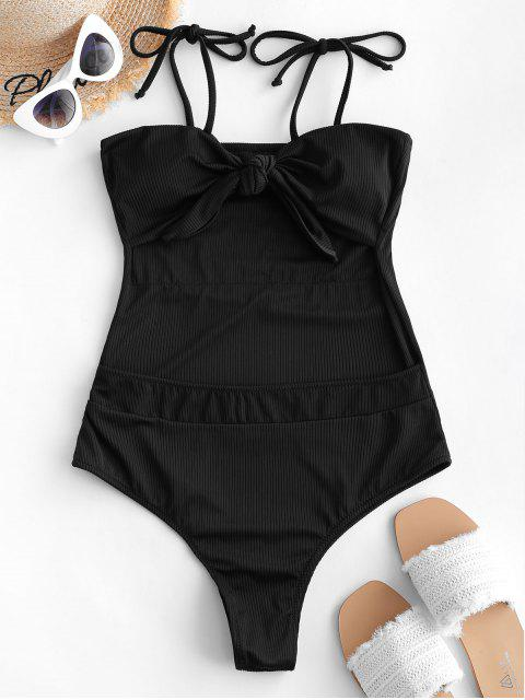 women's ZAFUL Tie Ribbed Cutout Convertible One-piece Swimsuit - BLACK M Mobile