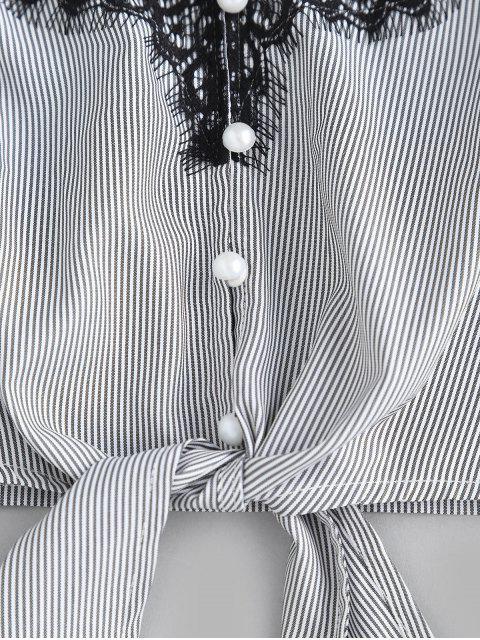 ZAFUL Cami Top à empiècements en dentelle à rayures nouées - Noir L Mobile