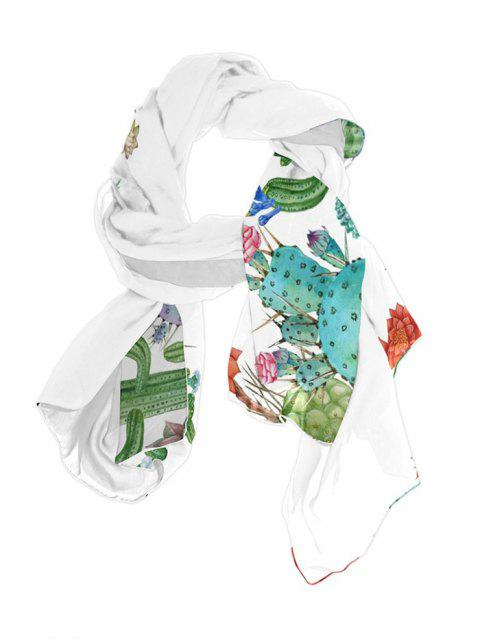 fancy Plant Cactus Printed Long Scarf - SEA GREEN 70*150CM Mobile