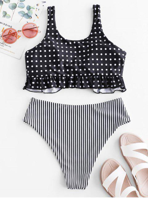 new ZAFUL Polka Dot Striped Tied Ruffle Tankini Swimsuit - MULTI-A L Mobile