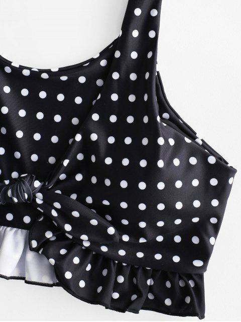 unique ZAFUL Polka Dot Striped Tied Ruffle Tankini Swimsuit - MULTI-A M Mobile