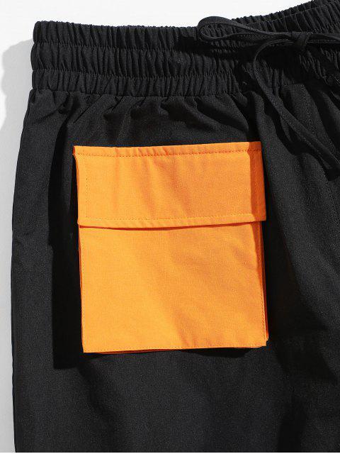 ZAFUL Short Droit en Blocs de Couleurs avec Poche à Cordon - Noir L Mobile